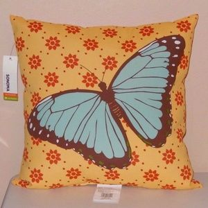 Kohl's Sonoma Yellow Blue Butterfly Throw Pillow